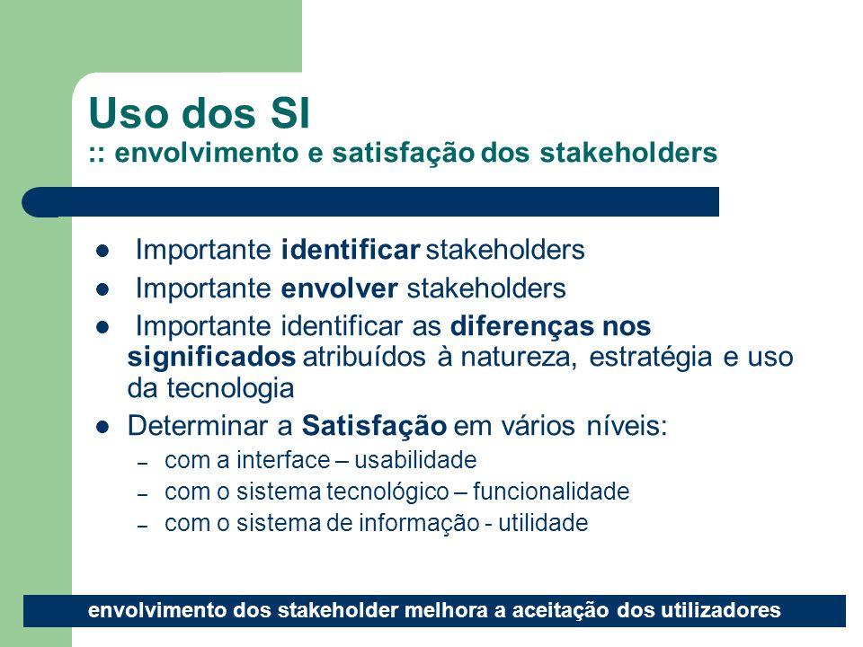 Uso dos SI :: envolvimento e satisfação dos stakeholders