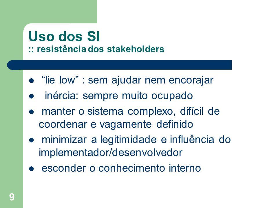 Uso dos SI :: resistência dos stakeholders