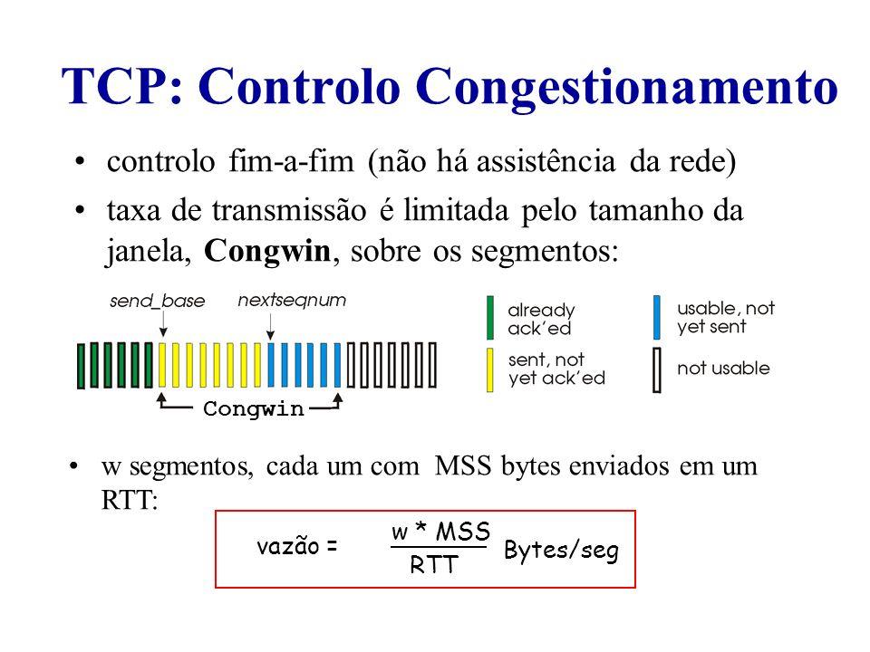 TCP: Controlo Congestionamento
