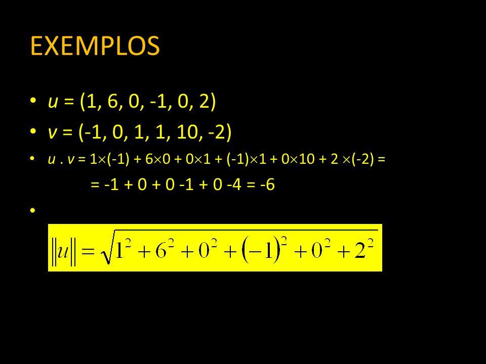 EXEMPLOSu = (1, 6, 0, -1, 0, 2) v = (-1, 0, 1, 1, 10, -2) u . v = 1(-1) + 60 + 01 + (-1)1 + 010 + 2 (-2) =