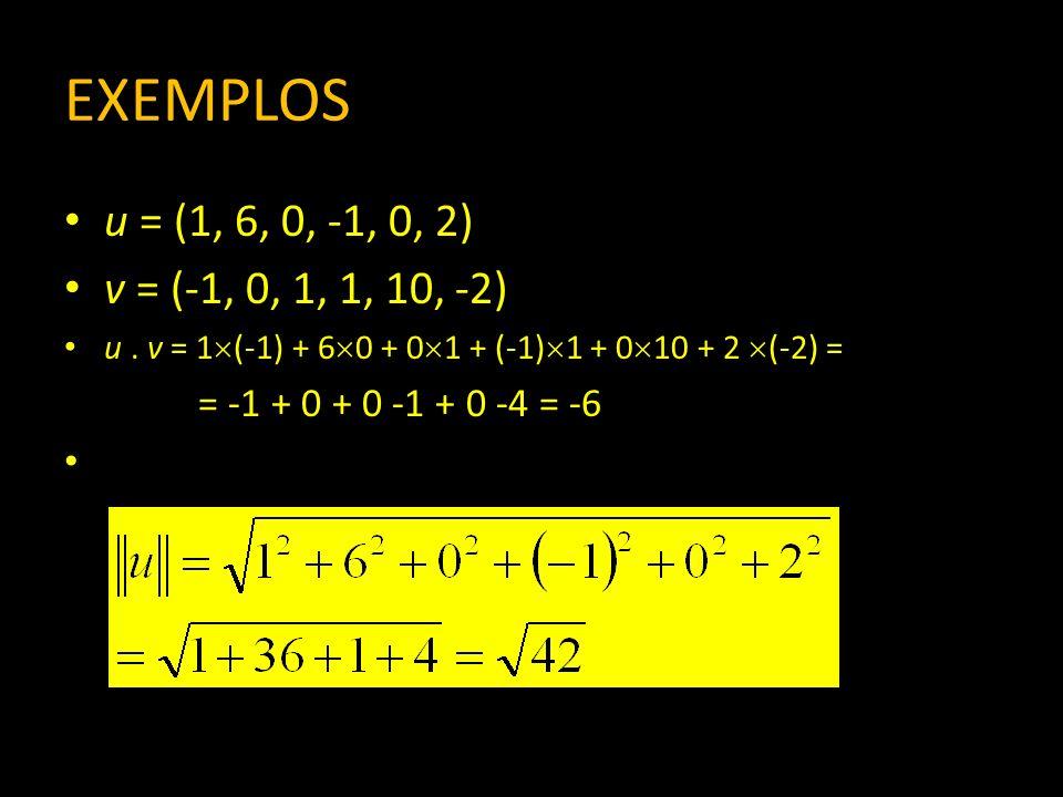 EXEMPLOS u = (1, 6, 0, -1, 0, 2) v = (-1, 0, 1, 1, 10, -2) u . v = 1(-1) + 60 + 01 + (-1)1 + 010 + 2 (-2) =