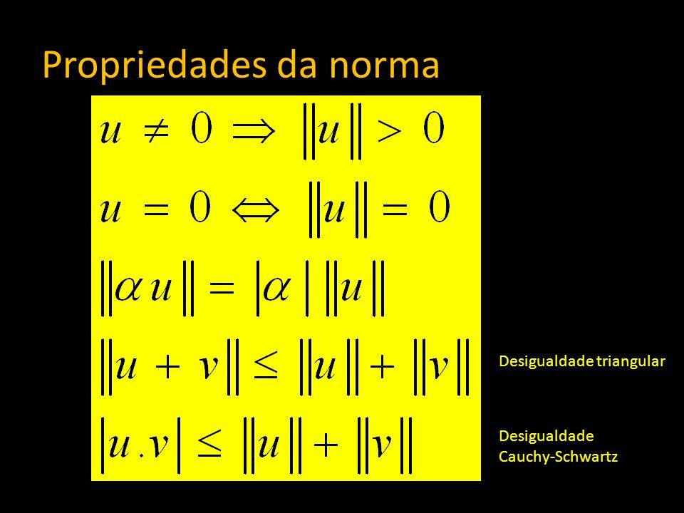 Propriedades da norma Desigualdade triangular Desigualdade