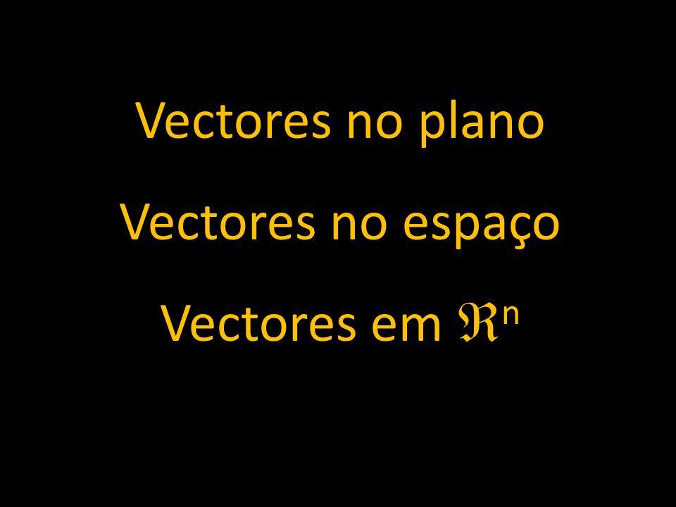 Vectores no plano Vectores no espaço Vectores em n