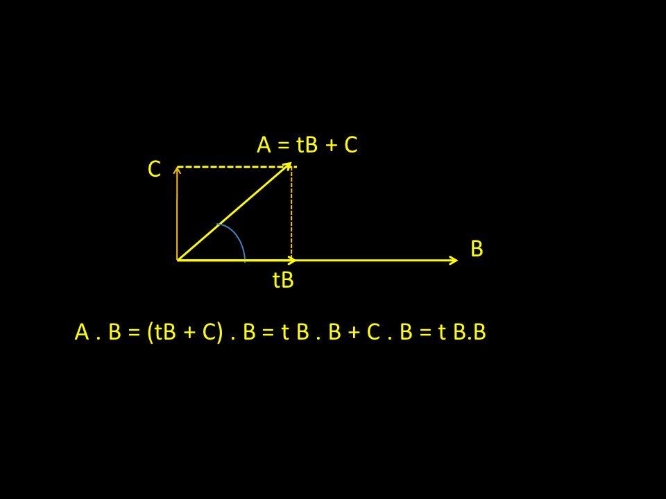A = tB + C C B tB A . B = (tB + C) . B = t B . B + C . B = t B.B