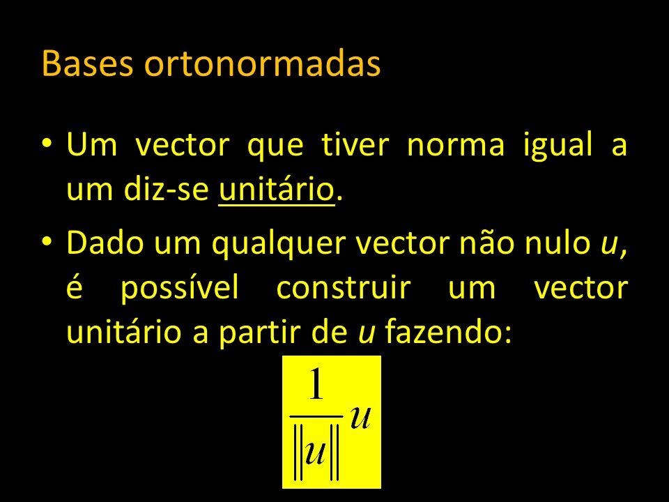 Bases ortonormadas Um vector que tiver norma igual a um diz-se unitário.