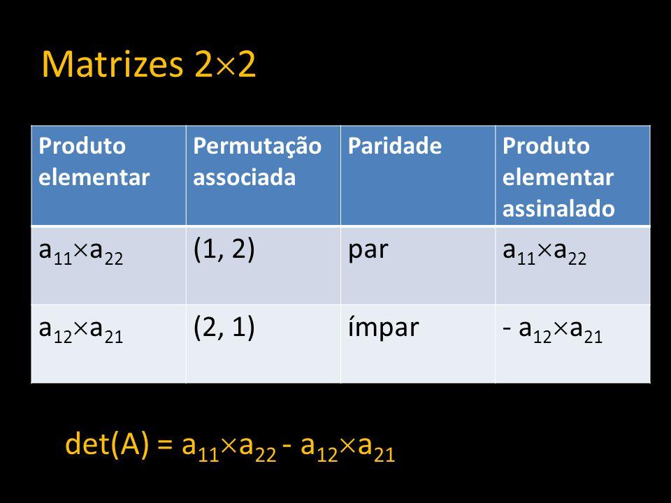 Matrizes 22 det(A) = a11a22 - a12a21 a11a22 (1, 2) par a12a21