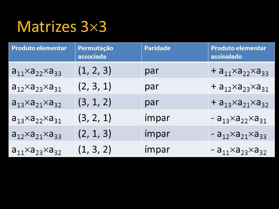 Matrizes 33 a11a22a33 (1, 2, 3) par + a11a22a33 a12a23a31