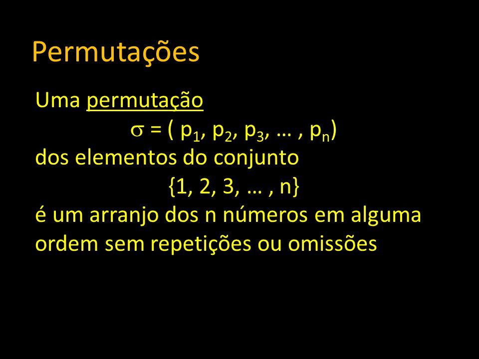 Permutações Uma permutação = ( p1, p2, p3, … , pn)