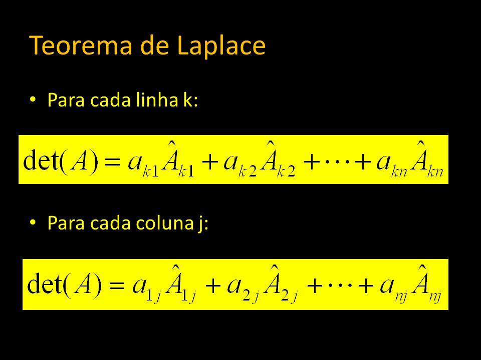 Teorema de Laplace Para cada linha k: Para cada coluna j: