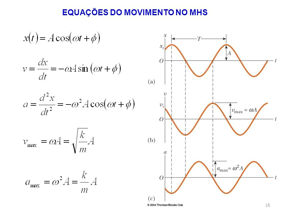 EQUAÇÕES DO MOVIMENTO NO MHS
