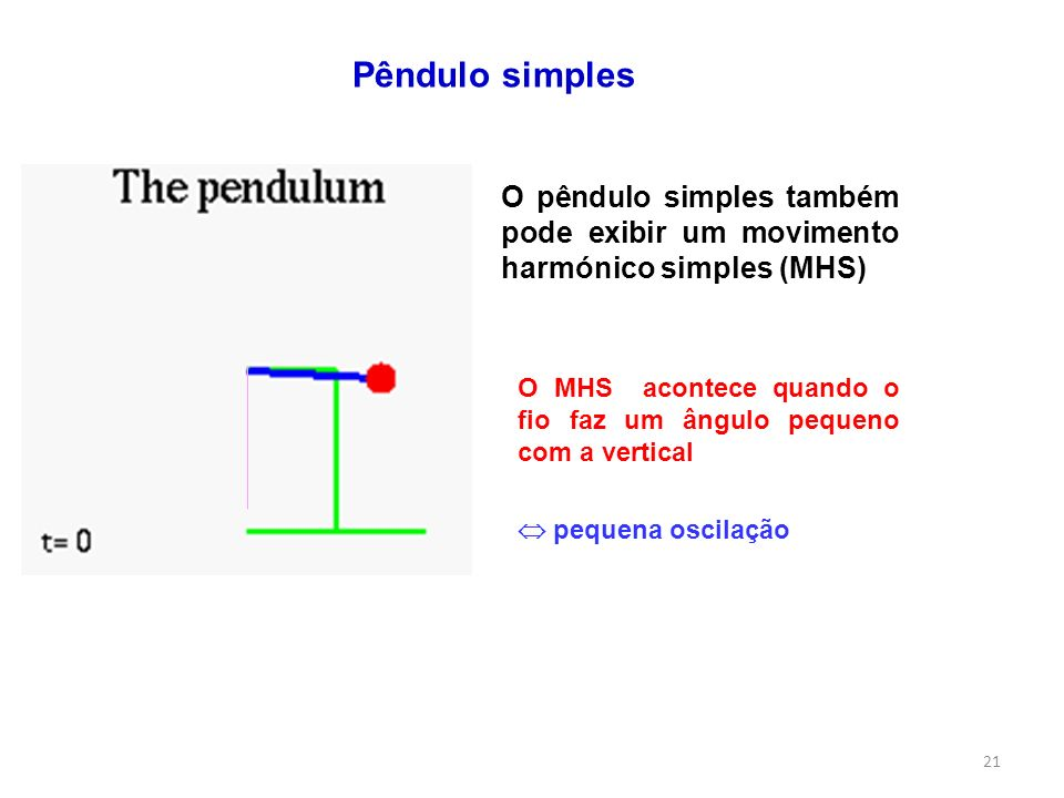 Pêndulo simples O pêndulo simples também pode exibir um movimento harmónico simples (MHS)