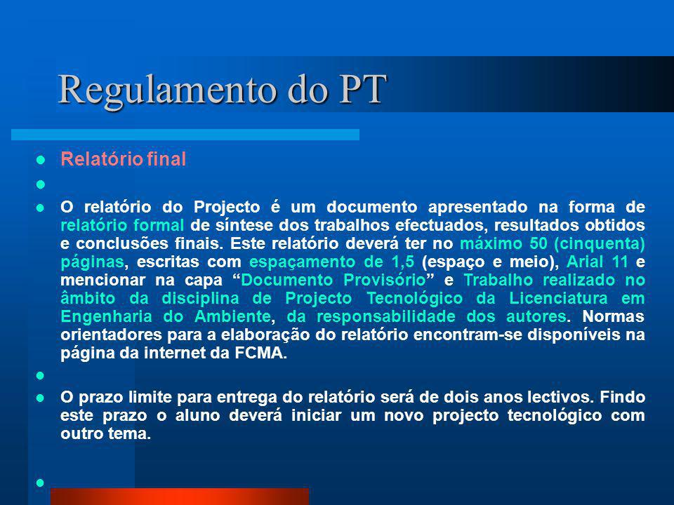 Regulamento do PT Relatório final