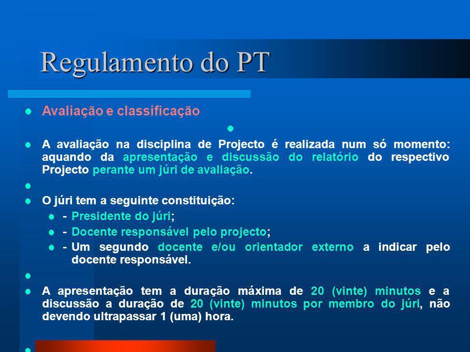 Regulamento do PT Avaliação e classificação