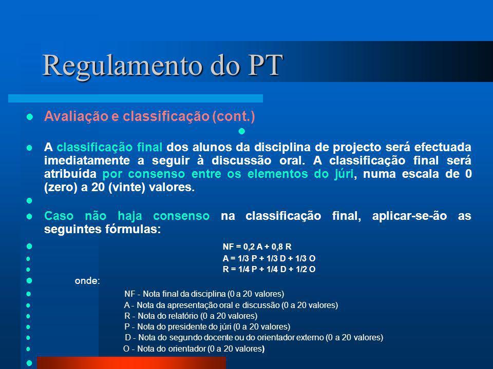 Regulamento do PT Avaliação e classificação (cont.)