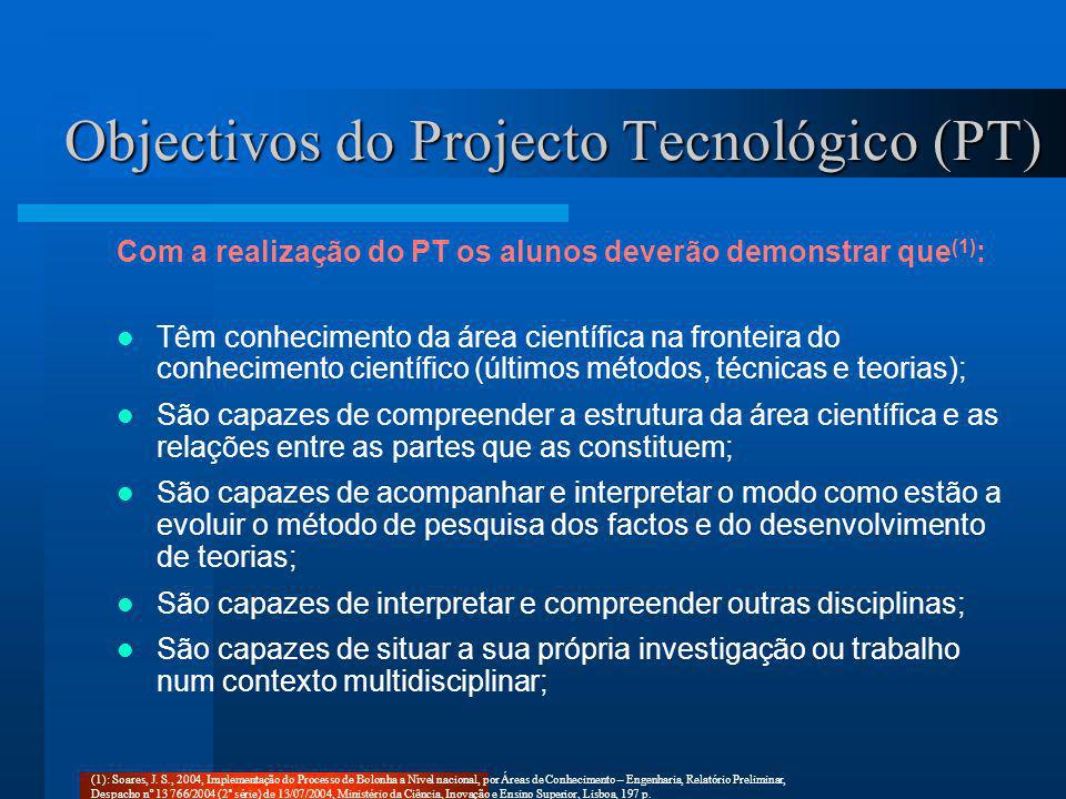 Objectivos do Projecto Tecnológico (PT)
