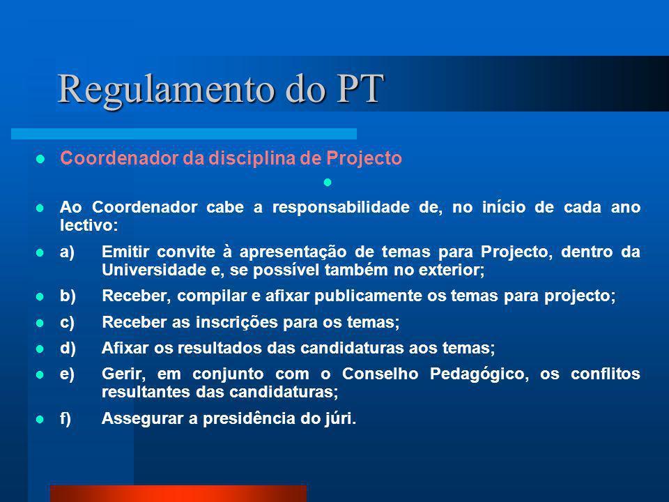 Regulamento do PT Coordenador da disciplina de Projecto