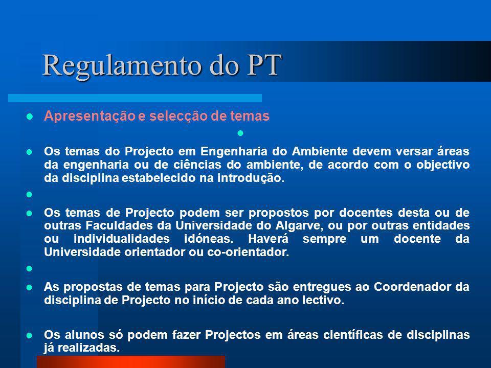 Regulamento do PT Apresentação e selecção de temas