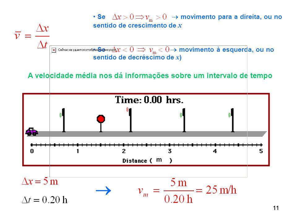 A velocidade média nos dá informações sobre um intervalo de tempo