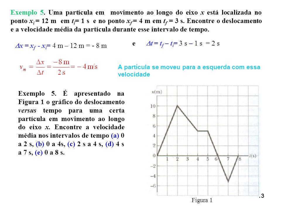 Exemplo 5. Uma partícula em movimento ao longo do eixo x está localizada no ponto xi = 12 m em ti= 1 s e no ponto xf = 4 m em tf = 3 s. Encontre o deslocamento e a velocidade média da partícula durante esse intervalo de tempo.