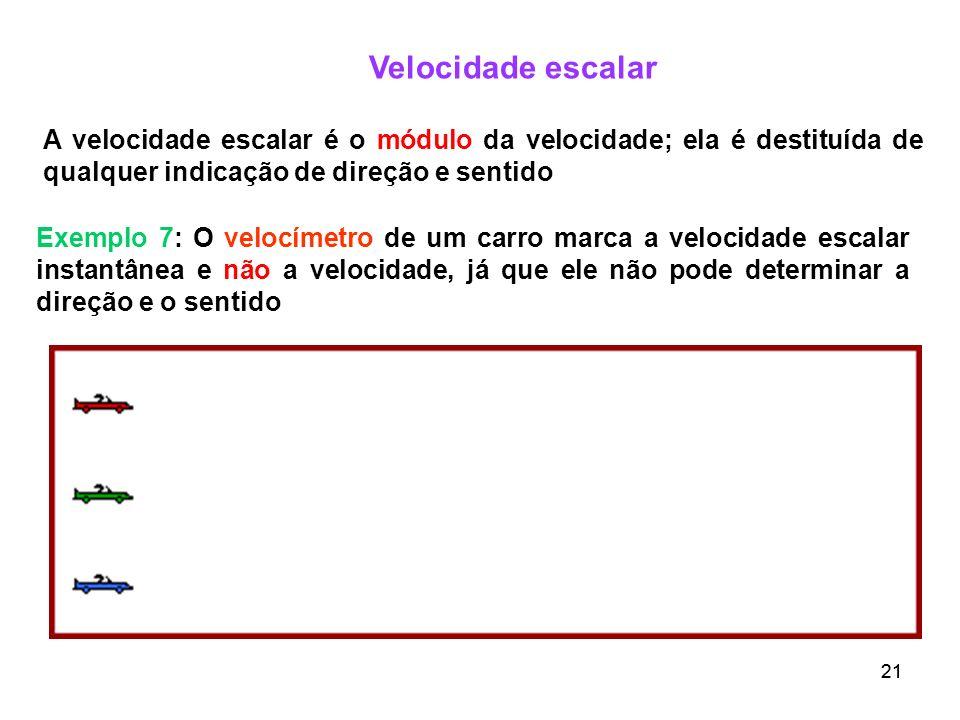 Velocidade escalar A velocidade escalar é o módulo da velocidade; ela é destituída de qualquer indicação de direção e sentido.