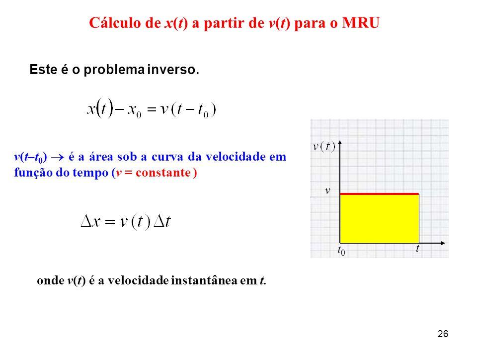 Cálculo de x(t) a partir de v(t) para o MRU