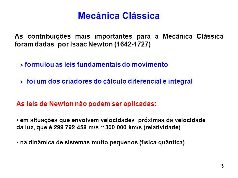Mecânica ClássicaAs contribuições mais importantes para a Mecânica Clássica foram dadas por Isaac Newton (1642-1727)
