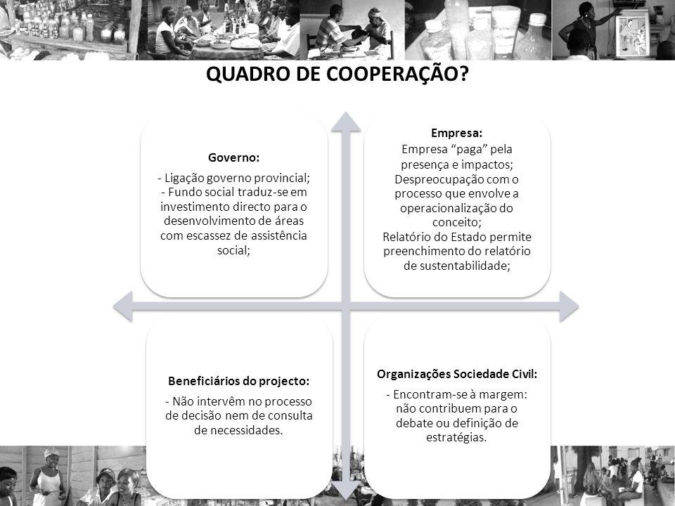 Organizações Sociedade Civil: Beneficiários do projecto: