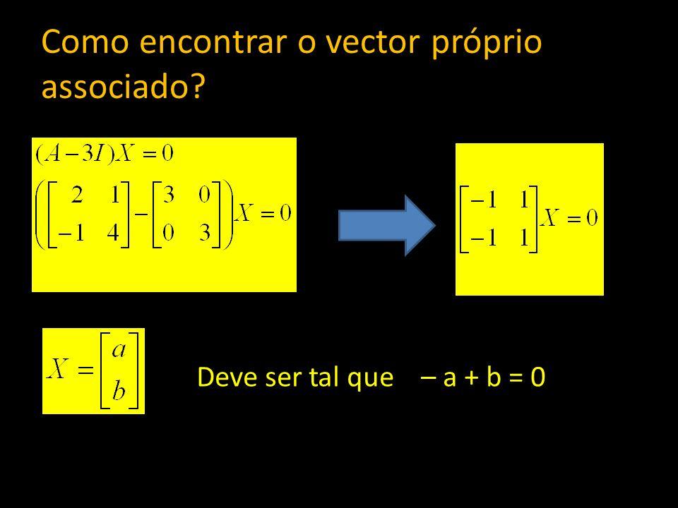 Como encontrar o vector próprio associado