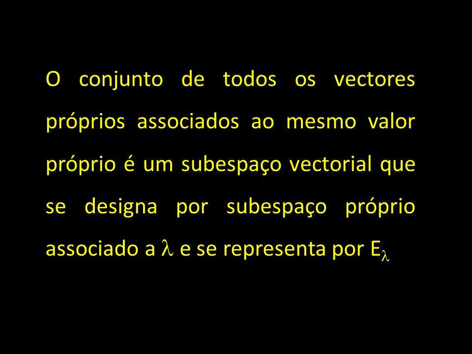 O conjunto de todos os vectores próprios associados ao mesmo valor próprio é um subespaço vectorial que se designa por subespaço próprio associado a  e se representa por E