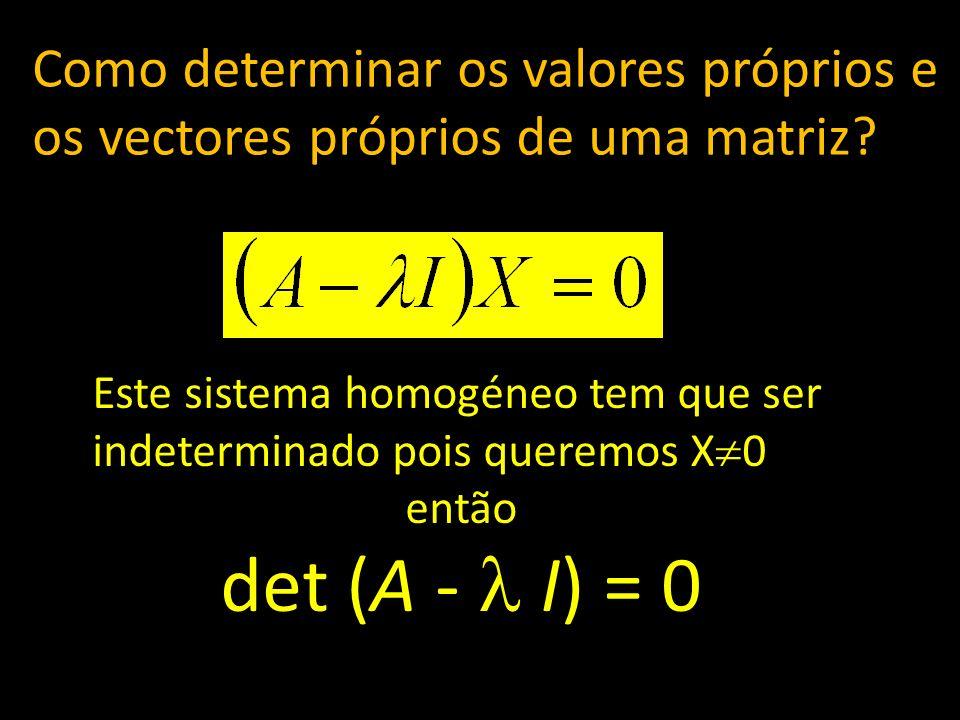 Como determinar os valores próprios e os vectores próprios de uma matriz