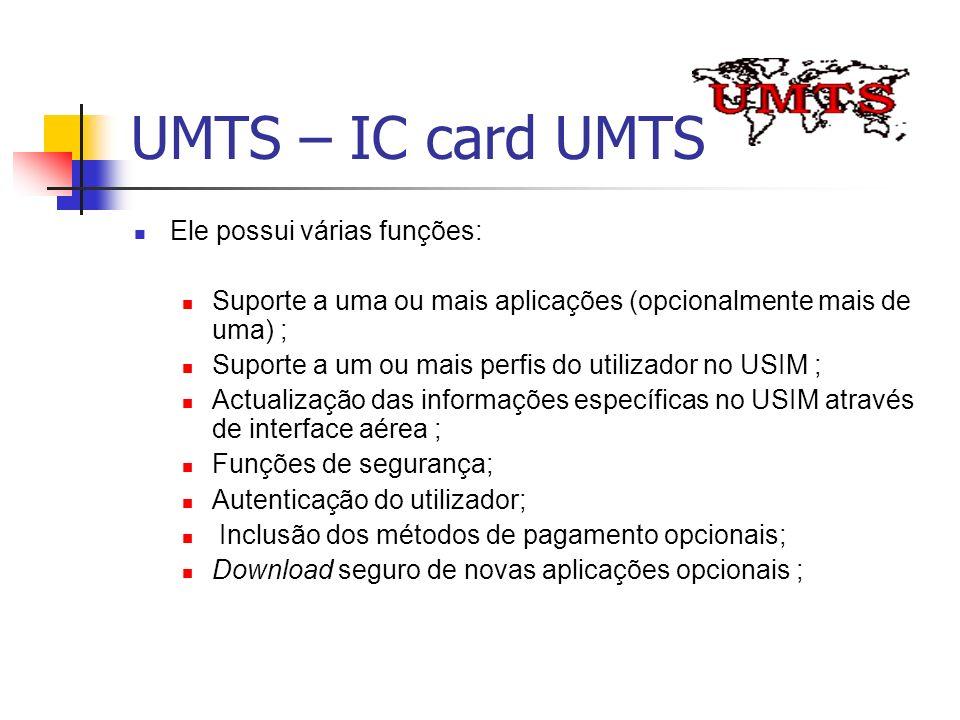 UMTS – IC card UMTS Ele possui várias funções: