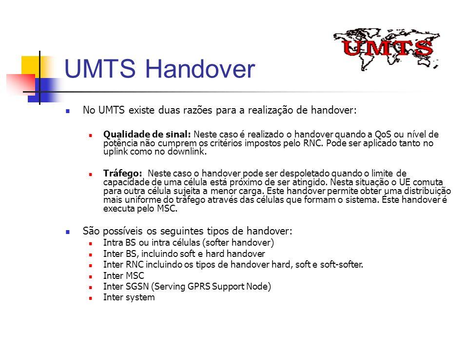 UMTS Handover No UMTS existe duas razões para a realização de handover:
