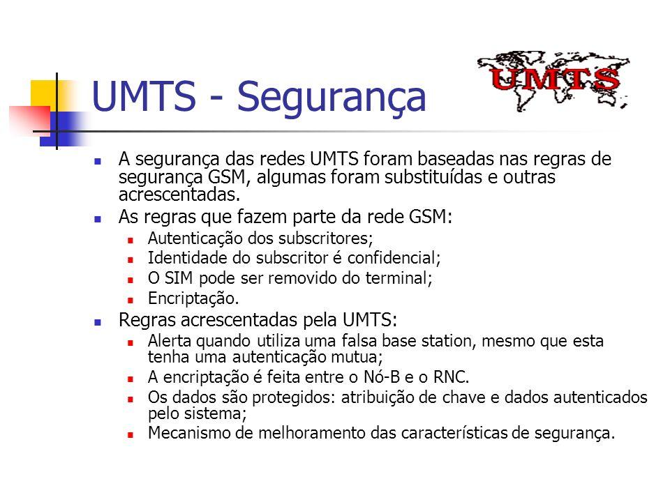 UMTS - Segurança A segurança das redes UMTS foram baseadas nas regras de segurança GSM, algumas foram substituídas e outras acrescentadas.