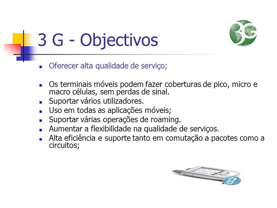 3 G - Objectivos Oferecer alta qualidade de serviço;
