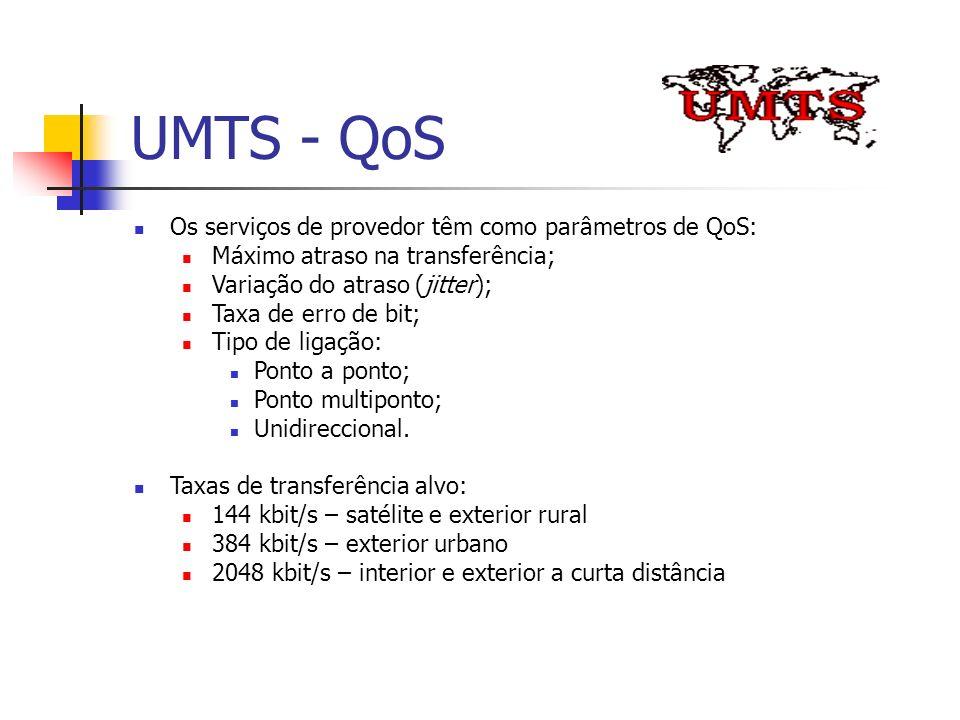 UMTS - QoS Os serviços de provedor têm como parâmetros de QoS: