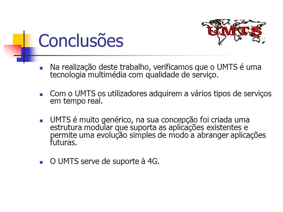 Conclusões Na realização deste trabalho, verificamos que o UMTS é uma tecnologia multimédia com qualidade de serviço.