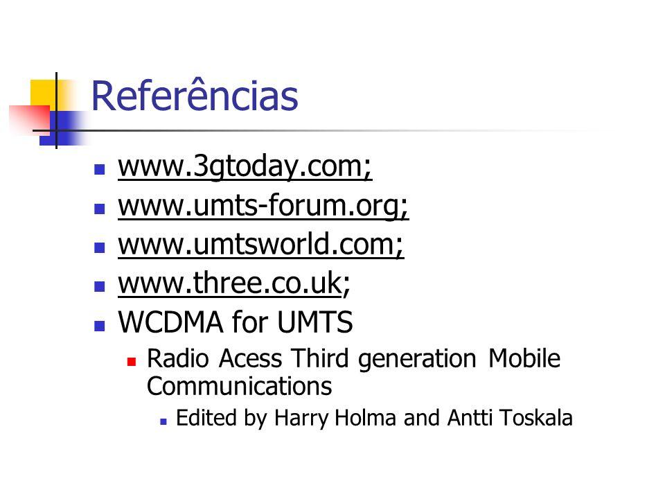 Referências www.3gtoday.com; www.umts-forum.org; www.umtsworld.com;