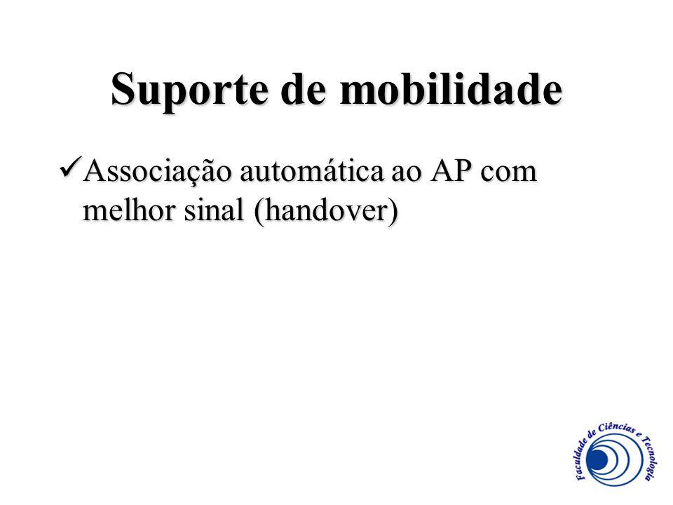 Suporte de mobilidade Associação automática ao AP com melhor sinal (handover)