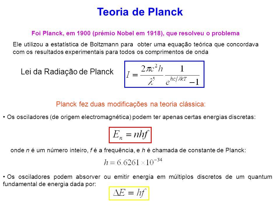 Foi Planck, em 1900 (prémio Nobel em 1918), que resolveu o problema