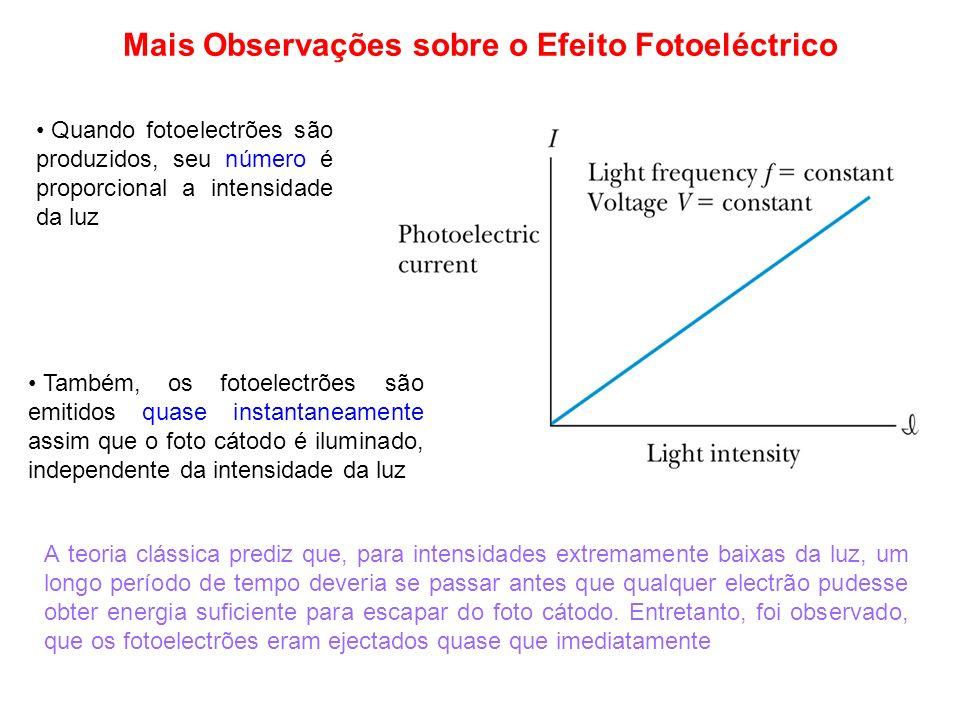 Mais Observações sobre o Efeito Fotoeléctrico