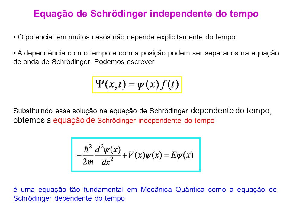 Equação de Schrödinger independente do tempo