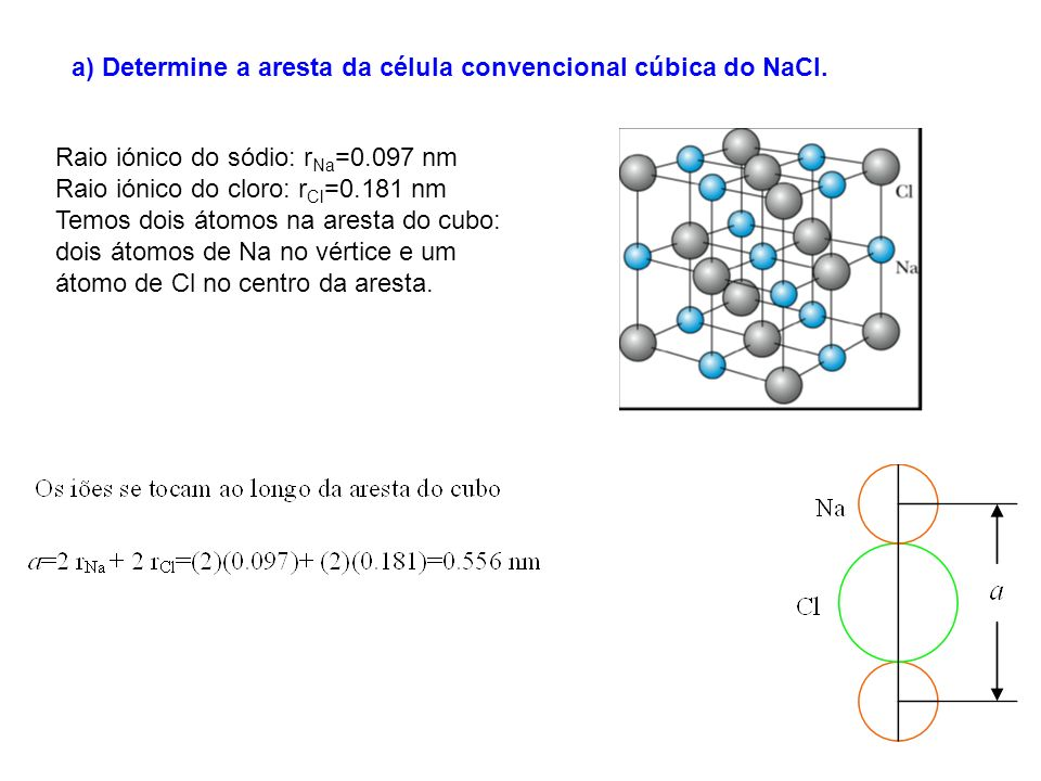 a) Determine a aresta da célula convencional cúbica do NaCl.