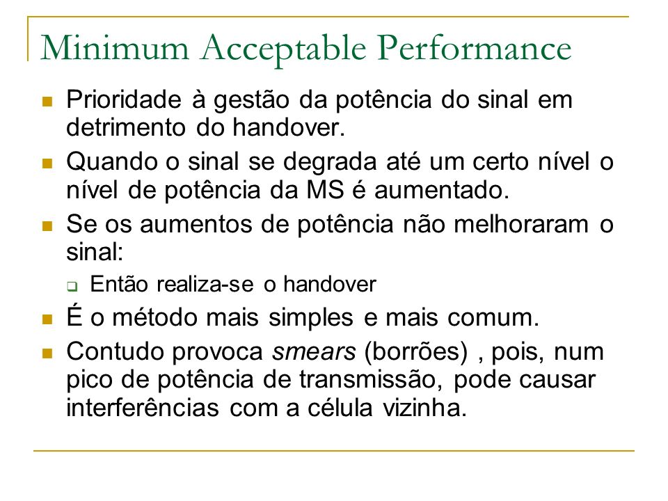 Minimum Acceptable Performance
