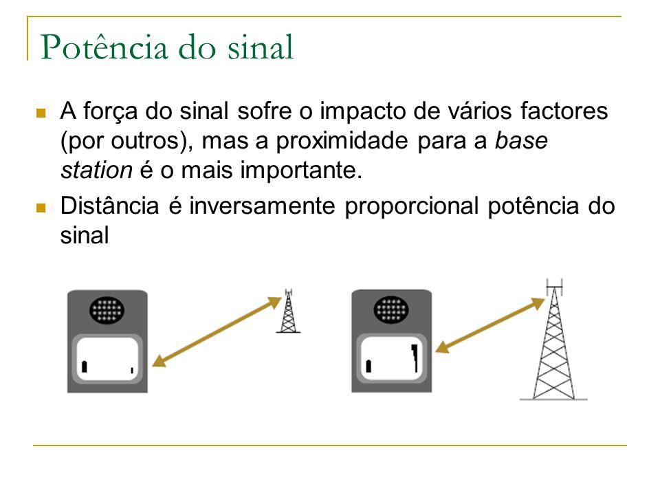 Potência do sinal A força do sinal sofre o impacto de vários factores (por outros), mas a proximidade para a base station é o mais importante.