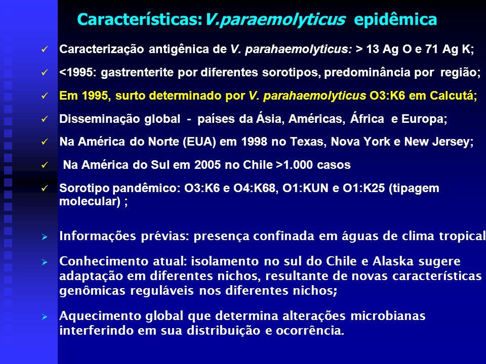 Características:V.paraemolyticus epidêmica