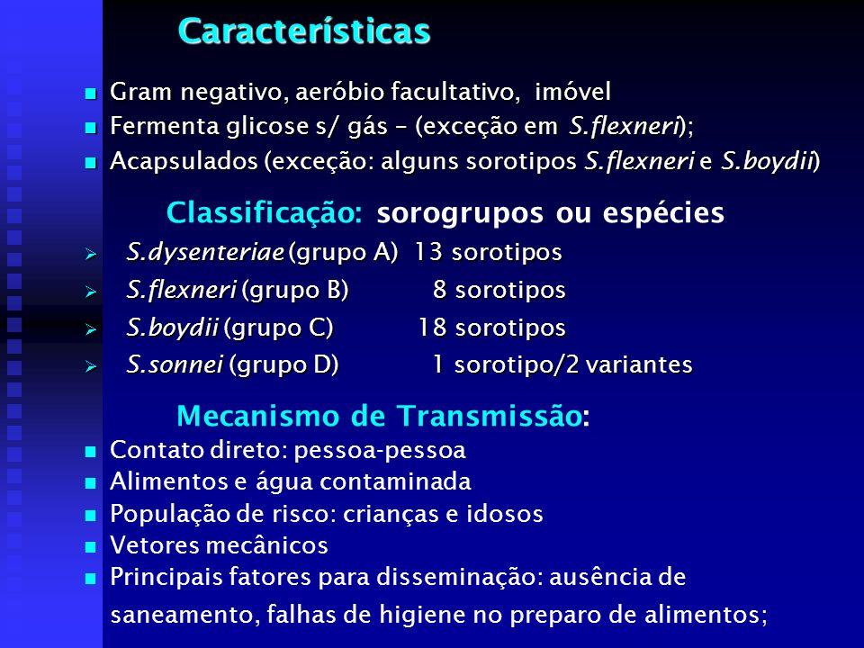 Características Classificação: sorogrupos ou espécies