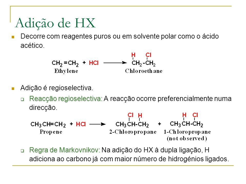 Adição de HX Decorre com reagentes puros ou em solvente polar como o ácido acético. Adição é regioselectiva.