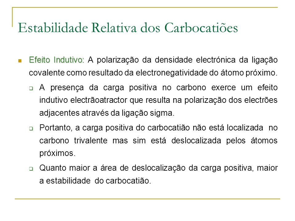 Estabilidade Relativa dos Carbocatiões