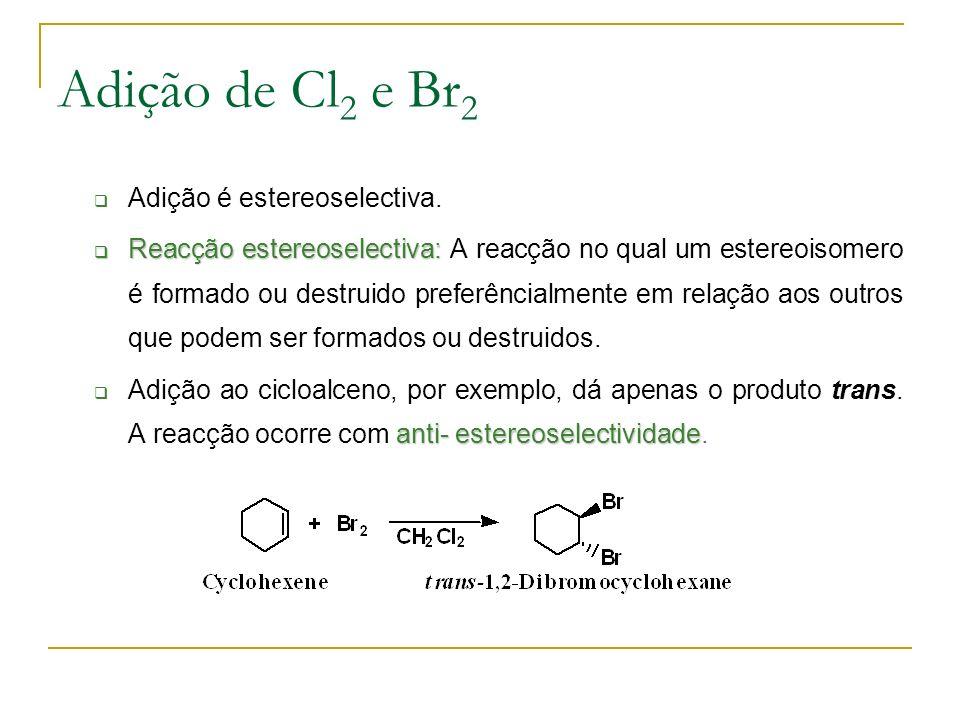 Adição de Cl2 e Br2 Adição é estereoselectiva.