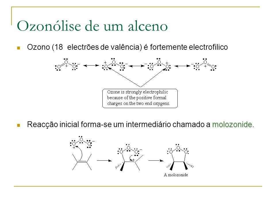 Ozonólise de um alceno Ozono (18 electrões de valência) é fortemente electrofilico.